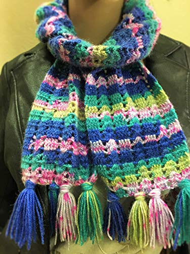 Multi Colour Handmade Crochet scarf, Mother's day gift for her, Winter crochet scarf, Woollen scarf, plaid scarf, crochet scarf, wrap, muffler, Crochet stole