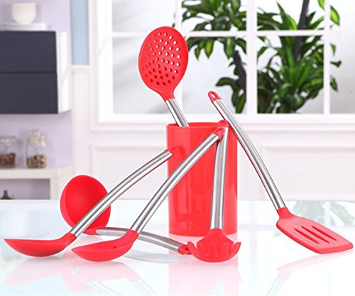 Esnbia Kitchen Cooking Utensils - 6 Piece Stainless Steel and Silicone Cooking Utensil Set?Red