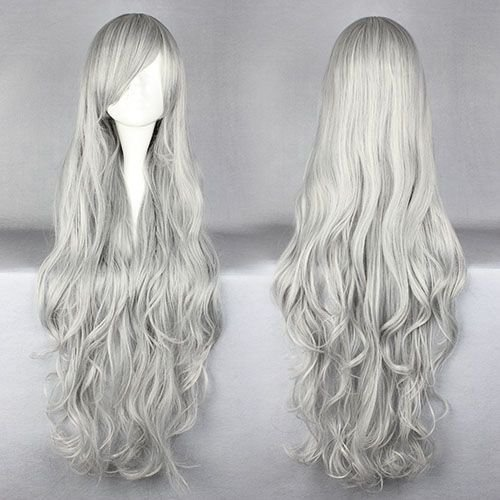 Smile Cosplay Anime wig 90cm Long Angel sanctuary-Rosiel Silvery Gray Costume