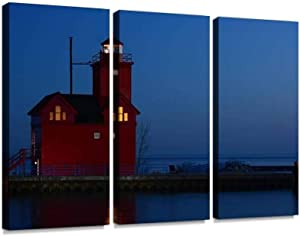 YKing1 red Lighthouse at Dusk Lake michigans and Pictures Wall Art Painting Pictures Print On Canvas Stretched & Framed Artworks Modern Hanging Posters Home Decor 3PANEL