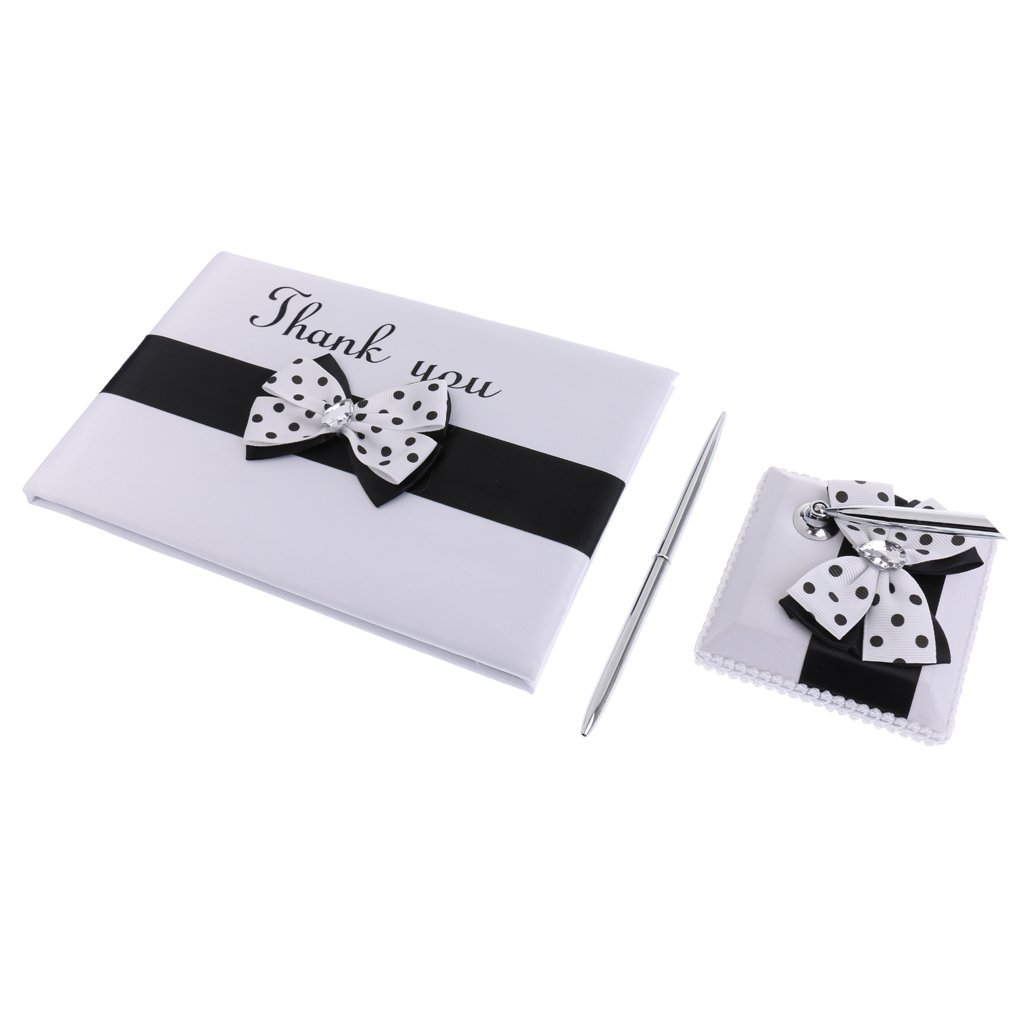 Dovewill Black White Polka Dot Satin Rhinestone Bowknot Thank You Guest Book Metal Pen Holder Set Signing Wedding Party Reception