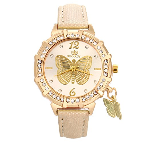 Dress Dial Tone Watch Gold (Zaidern Women Wrist Watch Womens Butterfly Tower Rhinestone Pendant Analog Quartz Classical Leather Watches Ladies Casual Simple Round Dial Leather Strap Belt Wristwatch Luxury Table Watches)