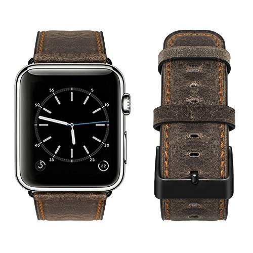 top4cus Genuine Leather iwatch Strap Replacement Band Stainless Metal Clasp, Compatible for 38mm 42mm Apple Watch Series 4(40mm 44mm) S3 S2 S1 and Sport Edition (Rugged Brown, 42 mm)