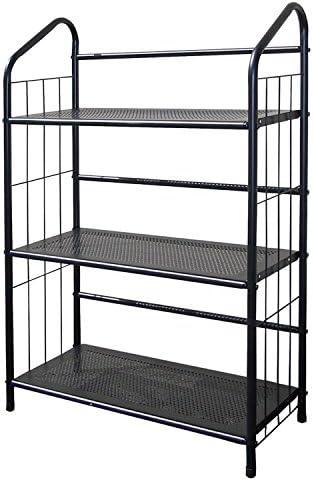 unbrand R597-4 FT597BK-4 Black Metal Book Shelf 4 Tier