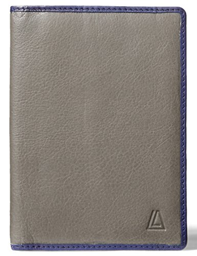 (LEATHER ARCHITECT-Men's 100% Leather RFID Passport Holder-Anthracite/Ink Blue)
