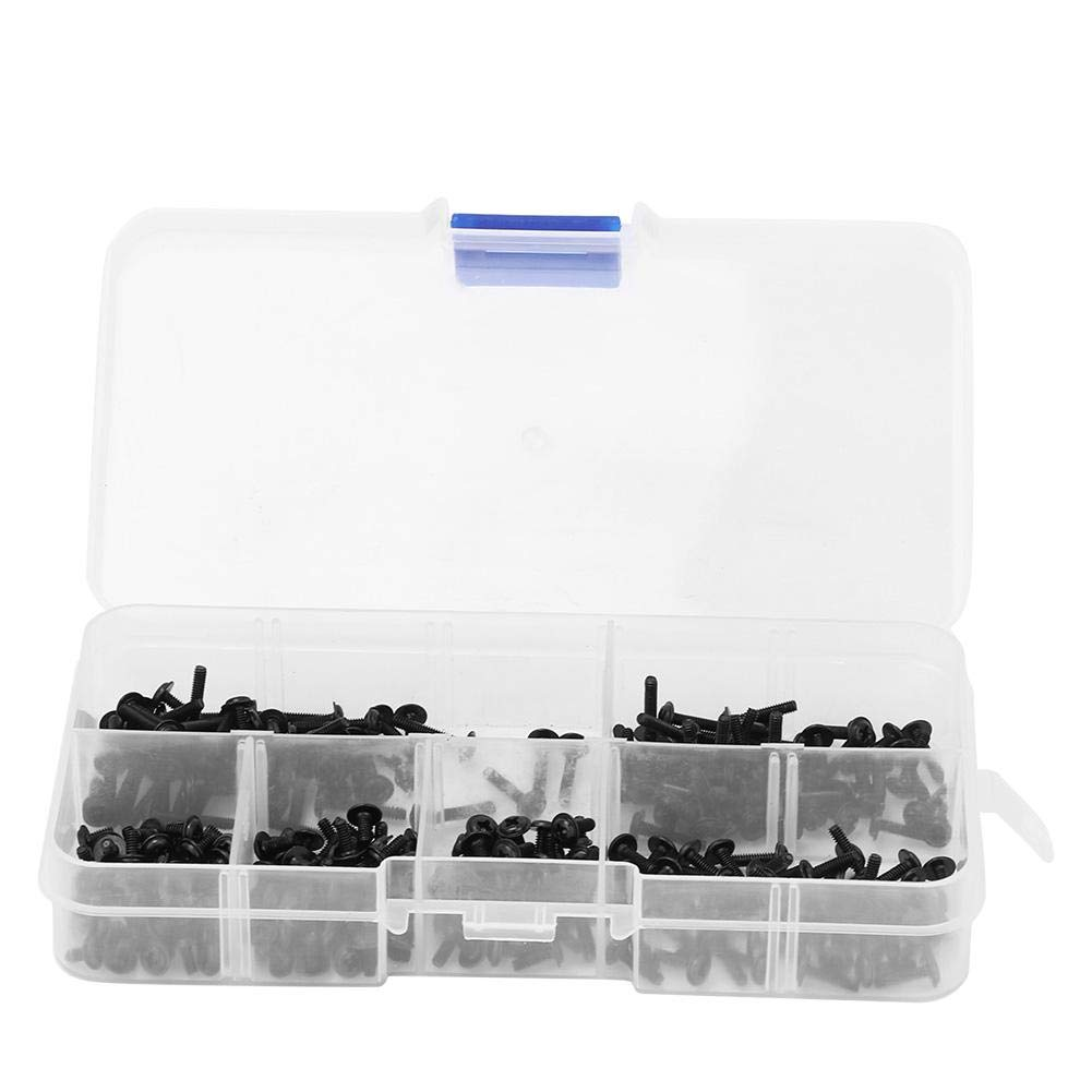 300Pcs M2 Black Round Head Cross with Washer Carbon Steel Screw Bolt Assortment Set Embedded Nuts Carbon Steel Screw Bolt Fastener