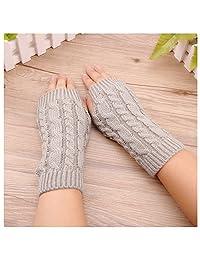FZAY Trendy Knitted Arm Fingerless Winter Gloves Unisex Soft Warm Mitten (Light Gray)