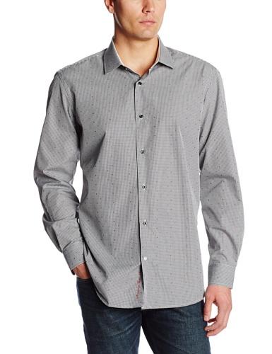 Robert Graham Men's Keifer Regular Cuffs Shirt, Black, 18