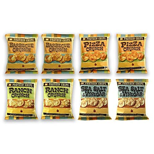 Cheap Protein Chips, 10g Protein, 5g Fiber, Assortment 8 Pack, Ranch, Pizza, BBQ, and Sea Salt and Vinegar, 1.2 oz bags