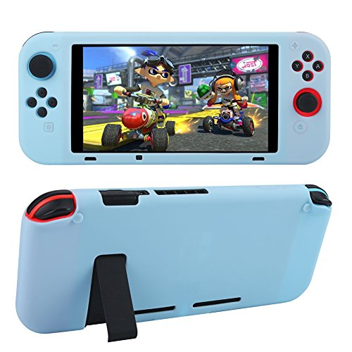 STSEETOP Nintendo Switch case, Silicone Gel Rubber Cover Hybrid Shock-Absorption and Anti-Scratch Soft TPU Full-body Shockproof Protective Case for Nintendo Switch (Blue, Integrated)