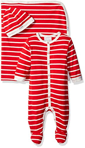 Coccoli Baby Boys' Grey Red Stripe Jersey Knit Cotton Footie Cap Blanket, Cranberry/Grey, 1 Months (Stripe Knit Layette)