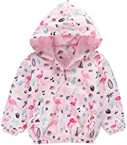 Girls Cartoon Unicorn Jackets Spring Zip Kids Hooded Flamingo Windbreaker for Toddler Pink Light Outwear