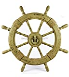 Antique Rustic Brown Vintage Nautical Ship Wheel | Pirate's Aged Gift Decor | Nagina International (42 Inches)