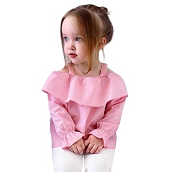 Children Newborn Baby Girl Boy Kids Solid Ruffles Ruched Tops Clothes A  Word Neck Ruffle Edge 769cc2258f3c