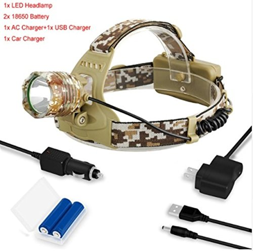 1 Pack 3800 Lumen Camouflage XM-T6 LED Flashlight Headlamp Headlight 3 Modes 10W Torch Hair-raising Fashionable Ultra Xtreme Light w/ 2x 18650 Rechargeable Battery AC Car Charger USB Cable, Type-03
