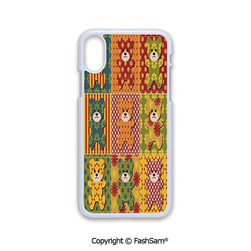 - Fashion Printed Phone Case Compatible with iPhone X Black Edge Colorful Kids Room Pattern with Patchwork Style Teddy Bears Cute Funny Childish Decorative 2D Print Hard Plastic Phone Case