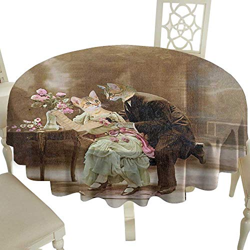 Cranekey Outdoor Round Tablecloth Rectangular 60 Inch Cat,Vintage Painting of Two Kittens Dating Victorian Couple Romance Love Theme,Brown Pale Green Pink Great for,Outdoors & More
