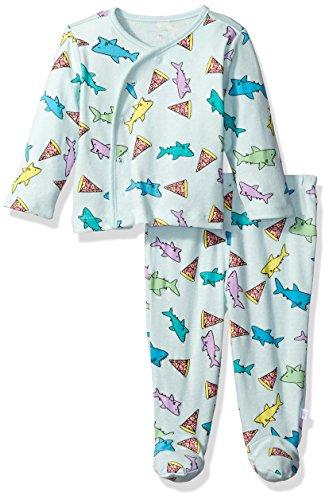 Rosie Pope Baby Boys' Kimono Set, Pizza/Sharks, 0-3 Months