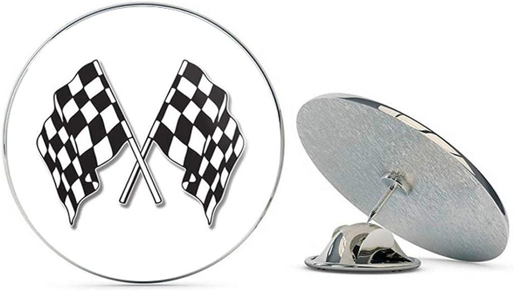 BRK Studio Checkered Flags Racing Round Metal 0.75 Lapel Pin Hat Shirt Pin Tie Tack Pinback
