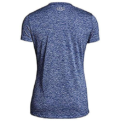 Under Armour Women's UA Tech¿ Twist V-Neck Formation Blue/Metallic Silver X-Small by Under Armour (Image #1)