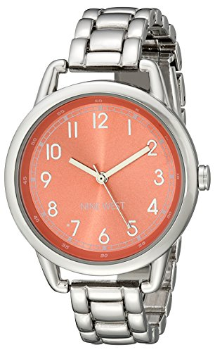 Coral Watch Bracelet - Nine West Women's NW/1691COSB Easy-To-Read Coral Silver-Tone Bracelet Watch