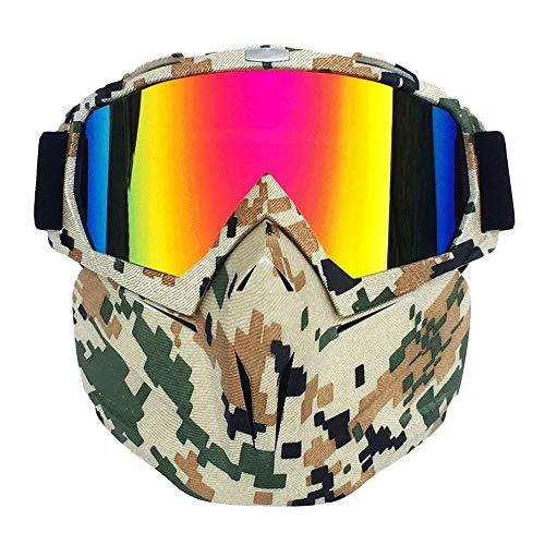 Efanr Motorcycle Goggle Mask, Detachable UV Protective Goggles Mask Anti-Fog Windproof Mask Bike ATV Google Mask for Desert Offroad Riding Racing ()