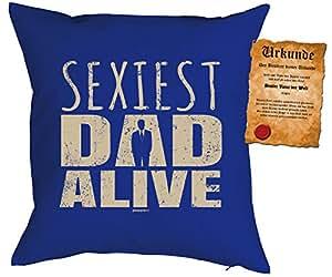 Almohada de 40x 40cm Con Diseño Día del Padre: sexiest Dad Alive–con gratis Escrituras––Cojín–Almohada–Color Azul
