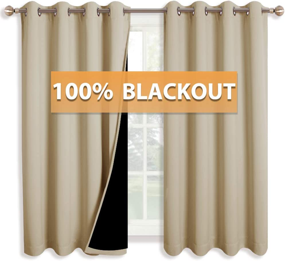 RYB HOME 100% Blackout Curtains Living Room Full Shading Drapes for Bedroom with Liner Layers Sunlight UV Blocking for Shift Worker Daytime Sleeper, 52 x 63 inch, Biscotti Beige, 1 Pair