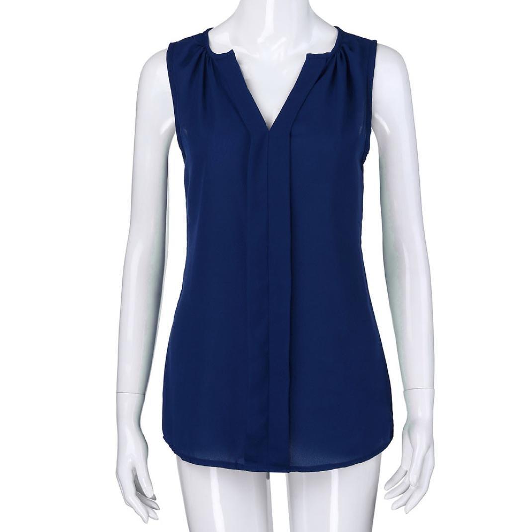 d34dbadb635c0e SEWORLD 2018 Damen Mode Sommer Damen Übergröße Chiffon Weste Shirt Ärmellose  Bluse Casual Tank Tops T-Shirt SEWORLD Damen [1541585983-92227] - £2.79