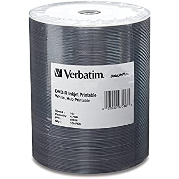 Verbatim 4.7GB up to 16x DataLifePlus White Inkjet Hub Printable Recordable Disc DVD-R 100-Disc Tape Wrap  97016