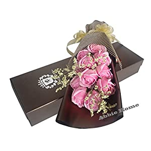 Abbie Home 11pcs Scented Rose Bouquet Decorating Soap Flower Creative Gift W/Box for Valentine's Day Mother's Day-Pink 36