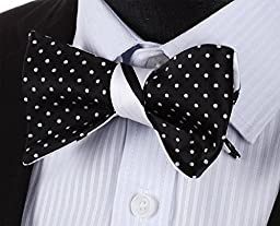 HISDERN Men\'s Striped Double Sided Jacquard Self Bow Tie Set One Size Black / White