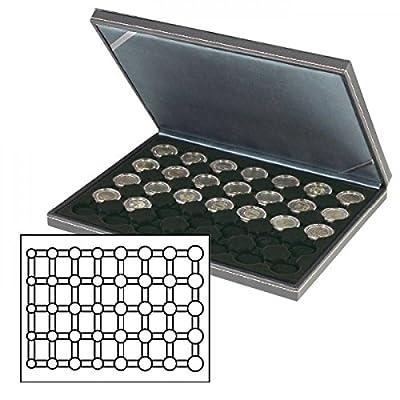 Lindner 2364-2556CE Étui à monnaie NERA M avec insert noir. Convient pour 5 EURO pièces de monnaie dans les capsules de monnaie LINDNER.