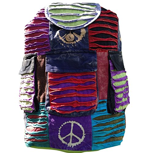 INDIE MULTI COLOUR PATCHWORK BOHO HIPPY BACKPACK BAG HIPPIE BEACH PEACE SHOULDER FESTIVAL RUCKSACK RETRO 60'S