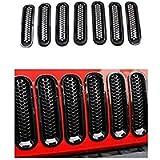 AL4X4 Black Front Grille Clip-in Mesh Inserts for 2007-2015 Jeep Wrangler JK JKU, (Pack of 7)