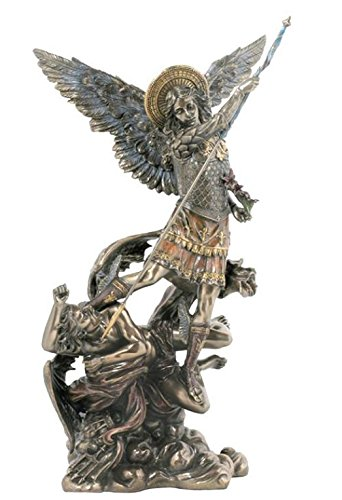 Veronese (ヴェロネーゼ) 悪魔の上に立つミカエル 大天使 花 槍 ブロンズ風 フィギュア B0764CMD4G