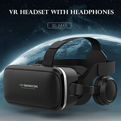 """3D VR Headset with Headphones, TSANGLIGHT Panoramic 360°Viewing Virtual Reality Headset with 3D Stereo Headphones for 4.7-6.0"""" IOS Android Cellphones FOV 100° - Compatible with Eyeglasses"""