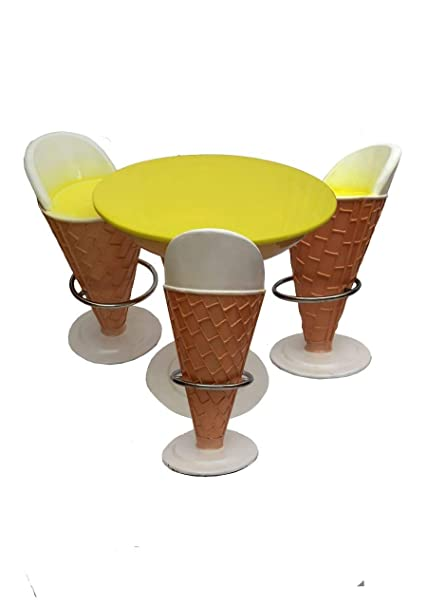 Waahkart Ice Cream Shaped Set Of 1 Table And 3 Chairs Icecream Parlor Restaurants Outdoor Furniture Ice Cone Chair Amazon In Home Kitchen