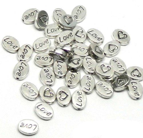 38 Oval Love Heart 8x10mm Antiqued Silver Beads Cast Zinc Metal Spacer Beads (Approx 1.2mm Hole) ()