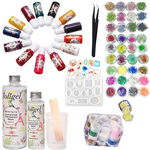 Joligel AB Resin Glue Epoxy Crystal Clear 400ml + 13 Colors Pigment + Mold for Pendants Making (12 Shapes) + 48 Decorations (Glitters + Glassine Paper + Dried Flowers + Coral Flowers) + Tweezers