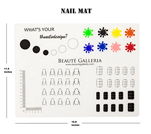 (Beaute Galleria Rollable Silicone Nail Art Stamping Mat for Reverse Stamping, Nail Decals Practice Washable Mess-Free Manicure Mat)