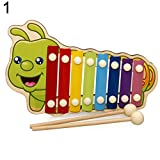 Yimosecoxiang Hot Funny Children's Toys Wooden Hand Knock Musical Animal Xylophone 8 Keys Instrument Percussion Kids Toy Caterpillar