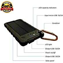 Cell Phone Charger - Solar & Plugin - 8000mah Dual USB - Best of Portable Battery Chargers - Rugged Shock Dust Waterproof for iPhone Sprint Lg Htc Android Samsung Nokia Motorola & USB devices (BLACK)
