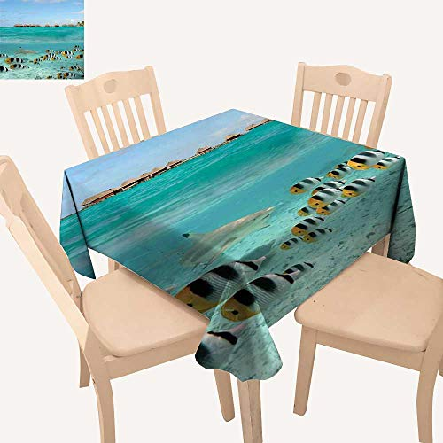 (haommhome Ocean Picnic Cloth Blacktip Reef Shark Chasing Butterfly Fish Lagoon of Bora Bora Tahiti Summer Table Cloths W 70