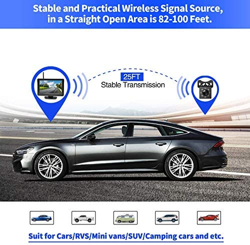 Aceeken Wireless Backup Camera with 4.3 LCD Screen HD Rear Front View Camera Kit for Car,SUV,ATV,UTV,Sedan,Van Driving Parking Use Super Night Vision Waterproof Reverse Cam DIY Backup Guidelines