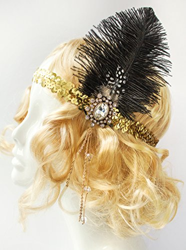 [Gold Flapper Headpiece, Gatsby 1920's Headband, Gold Sequins and Black Feathers] (Holiday Recital Costumes)