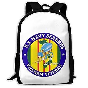 GOBG US Navy Seabees Vietnam Veteran Durable College Rucksack Water Resistant Travel Backpacks from GOBG