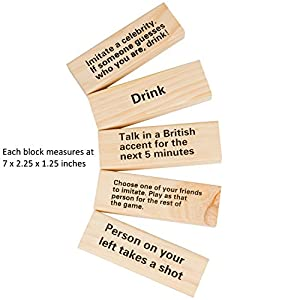 SCS Direct Extra Giant Stacking Tower Drinking Game (Stacks up to 5ft) – 60pcs Wooden Blocks with Drinking Commands (21+ only)