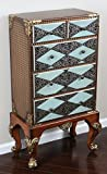 """Oliver and Smith - French Parisian Collection - Solid Wood Antique Accent Bombay Chest Dresser - Blue Black Silver Gold Grey - 5 Drawer Cabinet - 99135 - 22"""" W x 44.5"""" H x 12"""" D"""