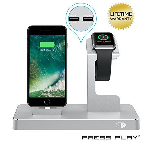 ONE Dock Power Station Dock, Stand & Charger for Apple Watch Smart Watch, iPhone, iPad and iPod-Silver (Ipod Charger Dock)